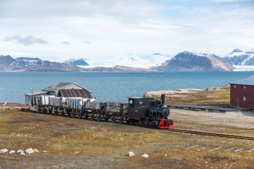 Wall Murals Pole Old coal mining train at Ny-Alesund, Spitzbergen, Svalbard
