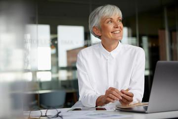 Portrait of smiling senior businesswoman at desk in her office