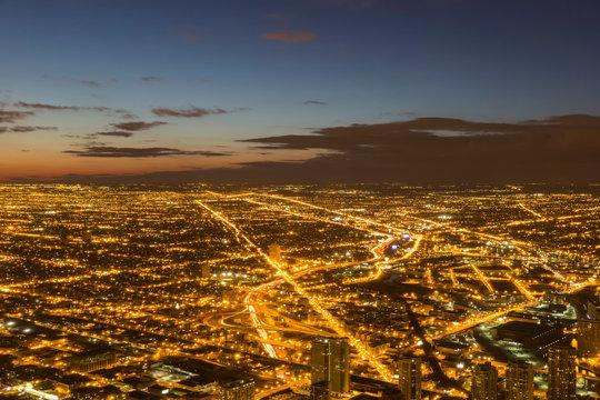 USA, Illinois, Chicago, View from Willis Tower towards Lake Michigan