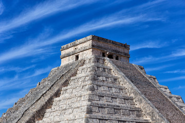 Mayan pyramid of Kukulcan against blue sky at Chichen Itza, Mexico