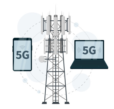 5G mast base station, smartphone and laptop as network clients on white background, vector illustration of mobile data usage in futuristic world, telecommunication antennas signal, cellular connection