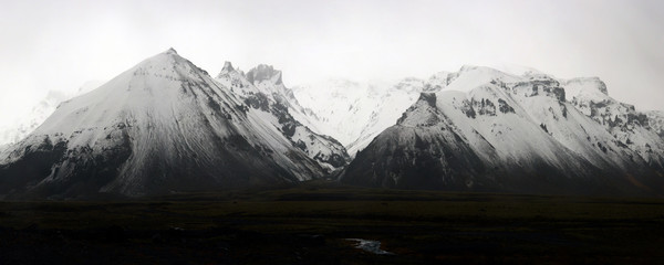 Panorama of snow covered mountain range in the south of Iceland, Polar Regions