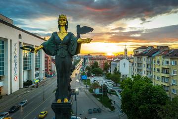 Foto op Textielframe Historisch mon. St. Sofia statue taken by drone, Sofia, Bulgaria, Europe