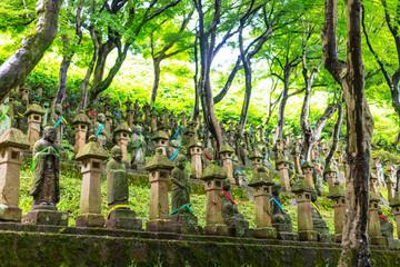 Poster Historisch geb. Soto Chokeiji Temple of 500 jizo Buddhist statues, Toyama, Toyama prefecture, Honshu, Japan, Asia