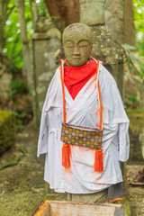 Foto op Textielframe Historisch mon. Jizo guardian statues, Dewa Sanzan Hagurosan temple, Yamagata Prefecture, Honshu, Japan, Asia