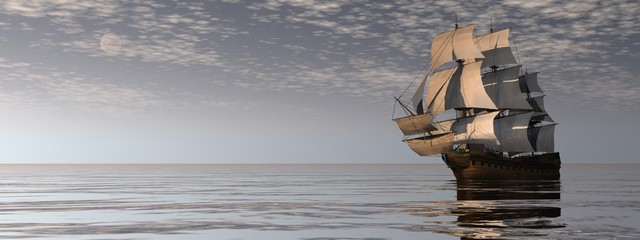 Fotobehang Schip Beautiful old merchant ship floating on quiet water by cloudy night - 3D render