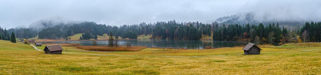 Alpine autumn lake Geroldee or Wagenbruchsee, Germany