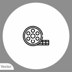 Film reel vector icon sign symbol