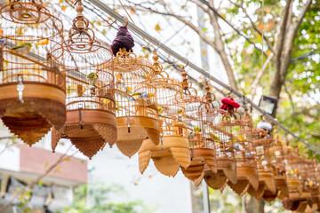 Vietnam, Hà Nội, Ba Đình, Stadtteil Cong Vi Ba Dinh / Q. Ba Dính, Vögel im Käfig
