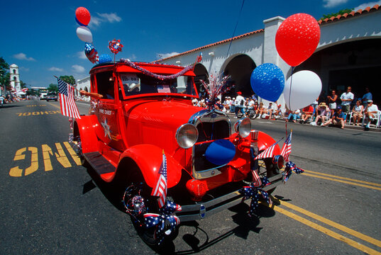 An antique car at Ojai's 4th of July parade, CA