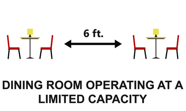 Dining room is operating at limited capacity sign illustrated concept for social distancing in restaurants and cafes.