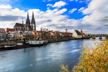 Beautiful towns of Germany - scenic medieval Regensburg over Danube river. Landmarks of Bavaria