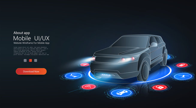 Smart HUD or intelligent car future concept. Futuristic automotive technology with autonomous driving, driverless cars. Hologram auto, futuristic polygonal model auto. Smart auto ai. Electric machine.
