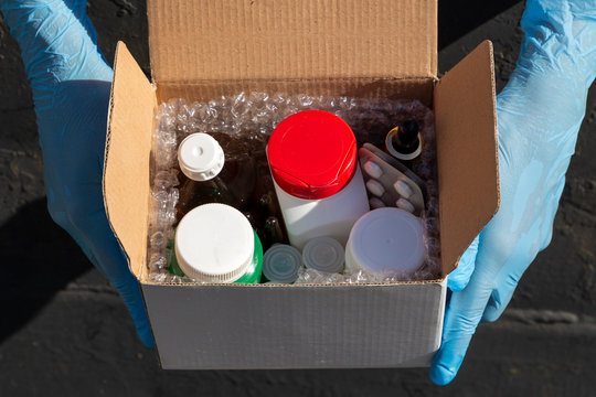 Box of medicine as a pharmacy delivery