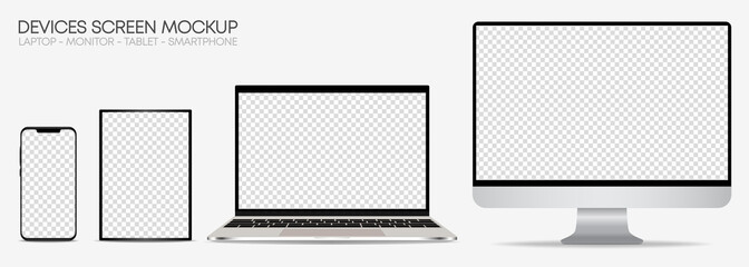 Set of realistic mockup of computer monitors, laptops, tablets and mobile phones. Isolated devices with editable screen on white background