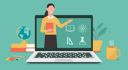 Obraz E-learning or online education, home school, woman teacher teaching on computer laptop screen, distance learning, online course concept, new normal, vector flat illustration - fototapety do salonu