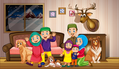 Foto op Textielframe Kids Muslim family in the house