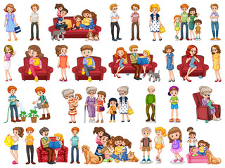 Family member cartoon character in several positions