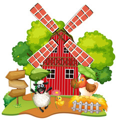 Photo sur cadre textile Jeunes enfants Animal at farm house