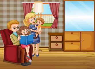 Photo sur cadre textile Jeunes enfants Family member cartoon character in living room