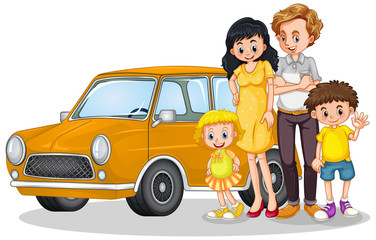 Photo sur cadre textile Jeunes enfants Happy family in front of car
