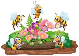 Photo sur cadre textile Jeunes enfants Garden scene with many bees flying on white background