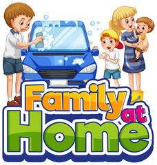 Photo sur cadre textile Jeunes enfants Family cleaning car with family at home text symbol