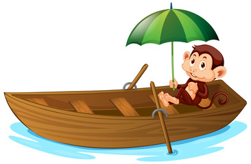 Photo sur cadre textile Jeunes enfants Cute monkey rowing wooden boat on white background