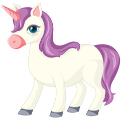 Photo sur cadre textile Jeunes enfants Cute purple unicorn in norrnal standing position on white background