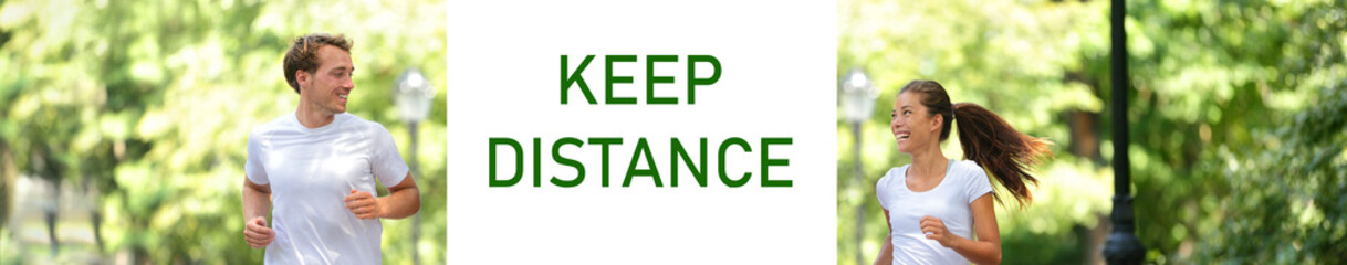 KEEP DISTANCE Covid-19 social distancing banner of happy healthy active friends walking together in...
