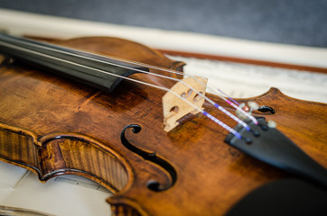 Close-up Of Violin On Musical Note