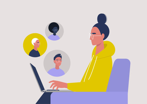 Video call conference, working from home, social distancing, business discussion