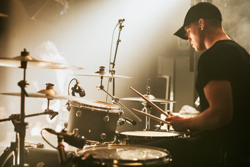 Drummer in a rock concert