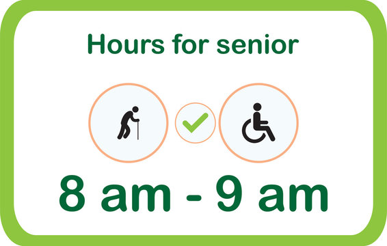 8 am - 9 am special hours only for 60+ years old people and disabled people only limit and limit purchases on the covid-19 sign or Coronavirus, the grocery store sign. vector illustration