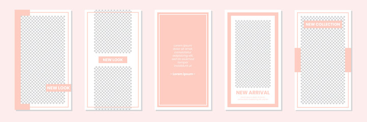 Slides Abstract Unique Editable Modern Social Media Pastel Peach Pink Soft Cute Banner Template. Anyone can use This Design Easily. Promotional web banner for social media stories. Vector Illustration