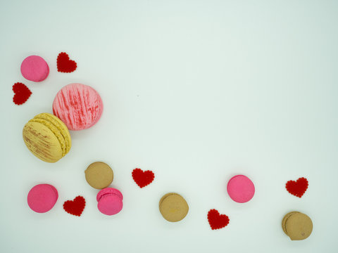 Directly Above Shot Of Macroons With Heart Shape Decoration