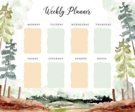 weekly planner with landscape scene watercolor background