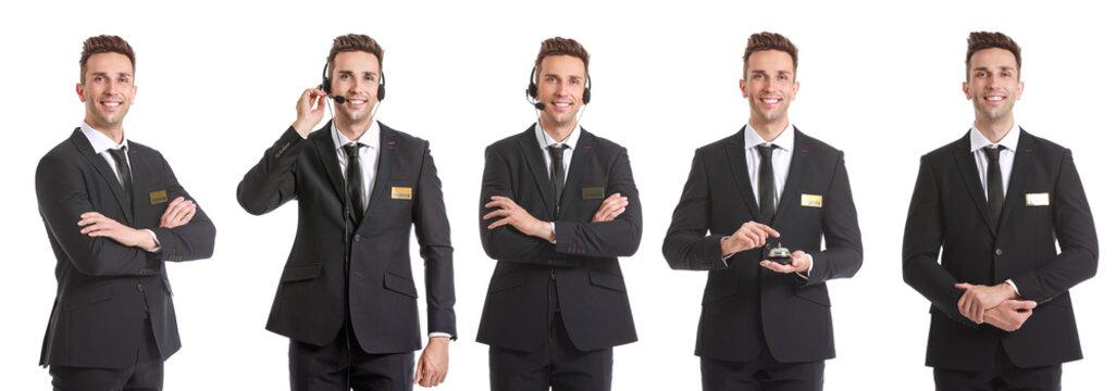 Hotel receptionist on white background