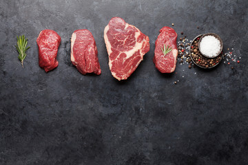 Variety of fresh raw beef steaks