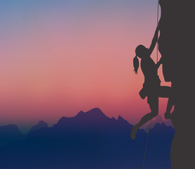 A Rock Climber, Mountaineering, Mountaintop, Sunset