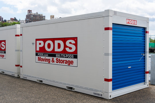 New York, USA - May 21, 2018: Portable On Demond Storage PODS container in New York City. It is a moving and storage company founded in 1998 in Florida USA.