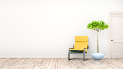 Obraz Empty Chair By Potted Plant Against Wall At Home - fototapety do salonu