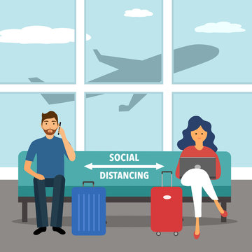 Man and woman are waiting for their flight and keep social distancing at the airport. They sitting away to prevent Covid19 coronavirus spreading and flu disease. Social isolation self quarantine.