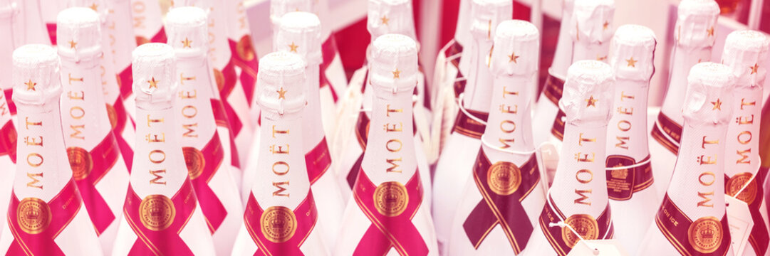 Helsinki, Finland, June 10, 2018: Bottles with champagne MOET