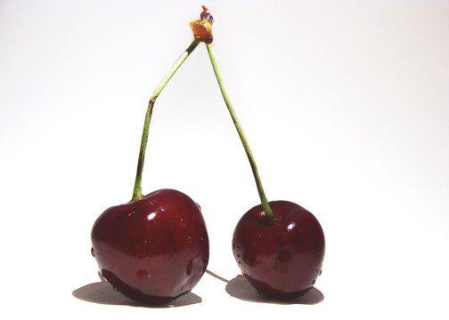 Close-up Of Wet Cherries Against White Background