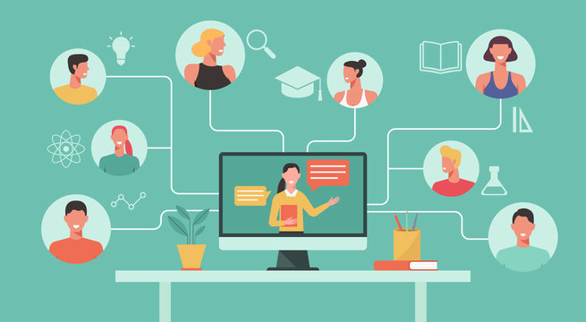 people learn online course, education or e-learning, home school, woman teacher teaching man and woman student on computer laptop screen, distance learning concept, new normal, vector illustration