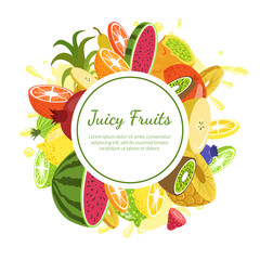 Juicy Fruits Banner Template, Fresh Bright Splashing Fruit and Berries of Round Shape with Space for Text Vector Illustration