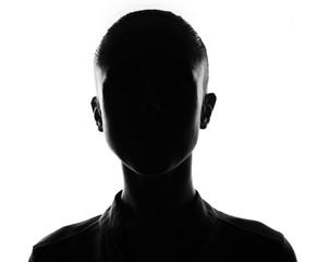 Female person silhouette, back lit over white
