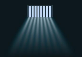 Concept de la prison et de la privation de liberté avec la lumière du jour qui éclaire l'intérieur d'une cellule au travers des barreaux de la fenêtre.