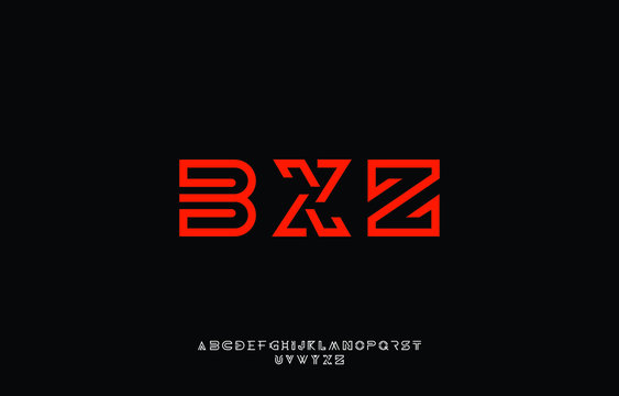 Bold line monogram alphabet and technology font. Classic fonts regular uppercase and lowercase in black background